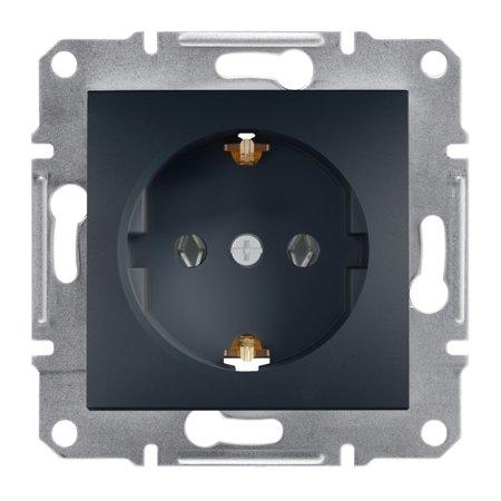 Jednoduchá zásuvka SCHUKO bez rámečku, antracit Schneider Electric Asfora EPH2900171
