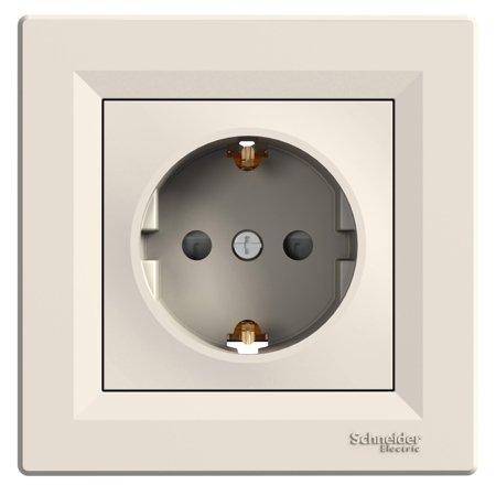 Jednoduchá zásuvka SCHUKO s clonami s rámečkem, krémová Schneider Electric Asfora EPH2900223