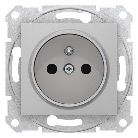 Jednoduchá zásuvka s uzeměním a clonami hliník Sedna SDN2800160 Schneider Electric
