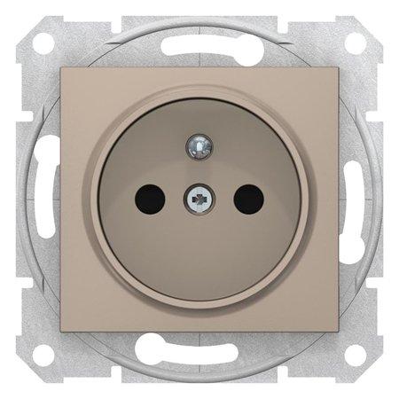Jednoduchá zásuvka s uzeměním a clonami saténová Sedna SDN2800168 Schneider Electric