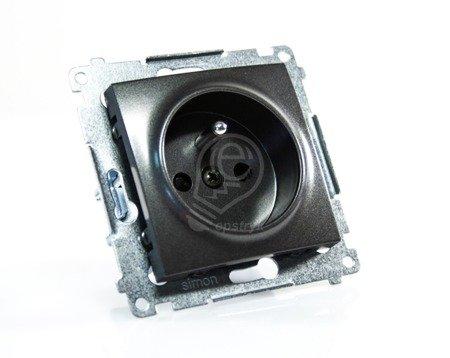 Kontakt Simon 54 Premium Antracit Zásuvka s uzemněním a clonami šroubové koncovky, DGZ1Z.01/48