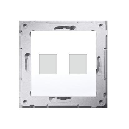 Kontakt Simon 54 Premium Bílý Teleinformační kryt zásuvek na Keystone plochý, dvojitý (modul), DKP2.01/11