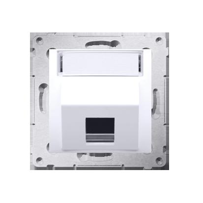 Kontakt Simon 54 Premium Bílý Telekomunikační kryt zásuvky na Keystone šikmý jednonásobný s popisovým pólem DKP1S.01/11