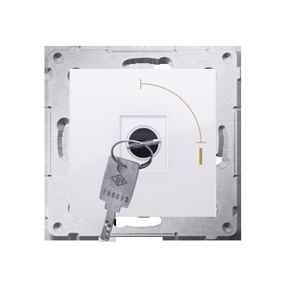 "Kontakt Simon 54 Premium Bílý Vypínač na dočasný klíč 2 polohový ""0-I"" spínač N/O vyt. klíče pouze v pozici 0, DP1K.01/11"