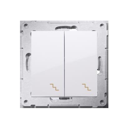 Kontakt Simon 54 Premium Bílý Vypínač schodišťový dvojnásobný s podsvícením (modul) šroubové koncovky, DW6/2L.01/11