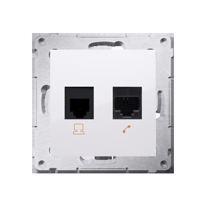 Kontakt Simon 54 Premium Bílý Zásuvka počítačová RJ45 kat. 5e + telefónní RJ12 (modul), D5T.01/11