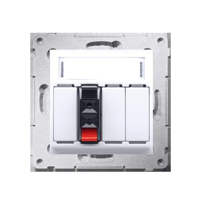 Kontakt Simon 54 Premium Bílý Zásuvka reproduktoru 1-násobná s popisovým pólem (modul) DGL31.01/11