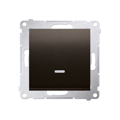 Kontakt Simon 54 Premium Hnědá, matné Tlačítko jednopólové zkratovací s podsvícením LED bez pikt. rychlospojka, DP1L.01/46