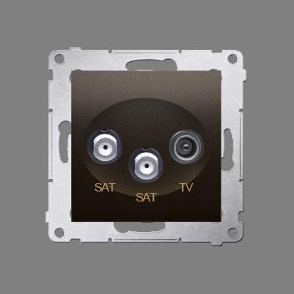 Kontakt Simon 54 Premium Hnědá, matný Anténní zásuvka satelitní dvojitá SAT-SAT-elektro (modul), DASK2.01/46