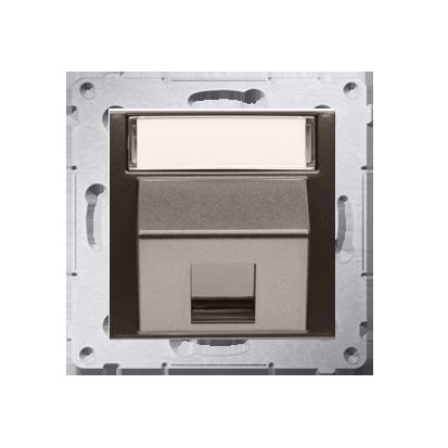 Kontakt Simon 54 Premium Hnědá, matný Telekomunikační kryt zásuvky na Keystone šikmý jednonásobný s popisovým pólem DKP1S.01/46