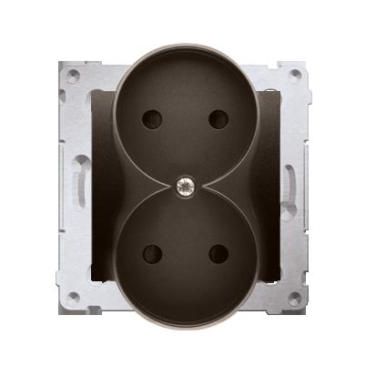 Kontakt Simon 54 Premium Hnědá, matný Zásuvka bez uz. s clonou dvojitá pro rámečky NATURE šroubové koncovky, DG2MZN.01/46