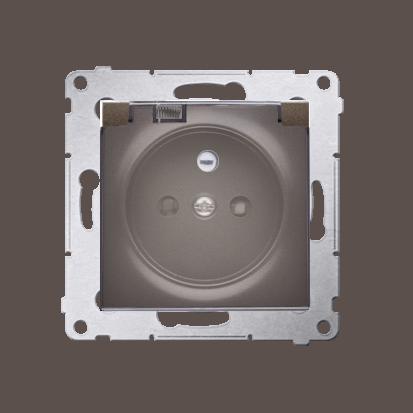 Kontakt Simon 54 Premium Hnědá, matný Zásuvka pro verzi IP44 transparentní klapka, DGZ1BZ.01/46A