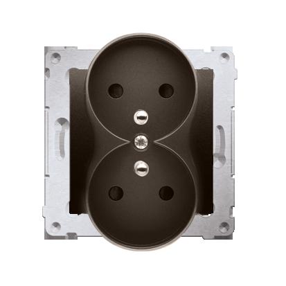 Kontakt Simon 54 Premium Hnědá, matný Zásuvka z uz. s clonou dvojitá pro rámečky NATURE šroubové koncovky, DGZ2MZN.01/46