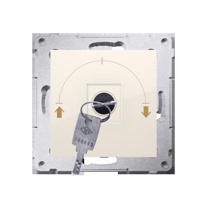 """Kontakt Simon 54 Premium Krémová Vypínač žaluzii na klíč dočasný 3 pol. """"I-0-II, 2 spínače N/O vyt. klíče v poloze 0, DPZK.01/41"""