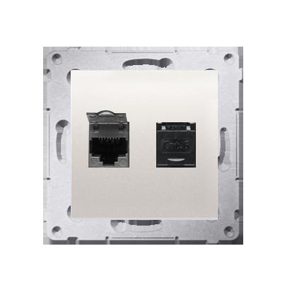 Kontakt Simon 54 Premium Krémová Zásuvka počítačová dvojitá RJ45 kat. 6, se zaklapávací krytkou D62.01/41