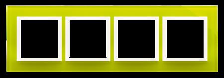 Kontakt Simon 54 Premium Limonkový Sorbet - sklo Rámeček 4-násobný Nature DRN4/90