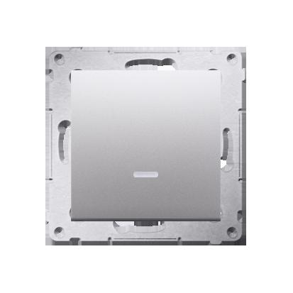 Kontakt Simon 54 Premium Stříbrná Tlačítko jednopólové zkratovací s podsvícením LED bez pikt. X šroubové koncovky, DP1AL.01/43