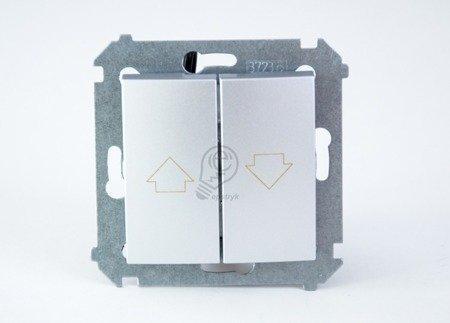 Kontakt Simon 54 Premium Stříbrná Tlačítko ovládání žaluzií z více míst, šroubové koncovky, DZP1W.01/43