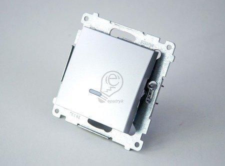 Kontakt Simon 54 Premium Stříbrná Vypínač jednonásobný s podsvícením LED (modul) rychlospojka, DW1L.01/43
