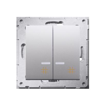 Kontakt Simon 54 Premium Stříbrná Vypínač křížový dvojnásobný s podsvícením (modul) 10 AX rychlospojka, DW7/2L.01/43