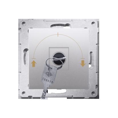 """Kontakt Simon 54 Premium Stříbrná Vypínač žaluzii na klíč dočasný 3 pol. """"I-0-II, 2 spínače N/O vyt. klíče v poloze 0, DPZK.01/43"""