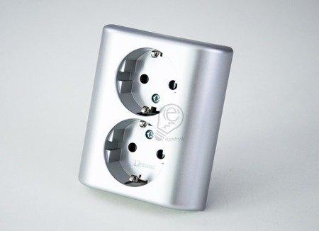 Kontakt Simon 54 Premium Stříbrná Zásuvka dvojitá Schuko zápustná s dětskou ochranou,šroubové koncovky, EGSZ2PZ/43