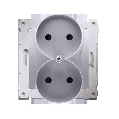 Kontakt Simon 54 Premium Stříbrná Zásuvka dvojitá bez uzemnění s clonou šroubové koncovky, DG2MZ.01/43