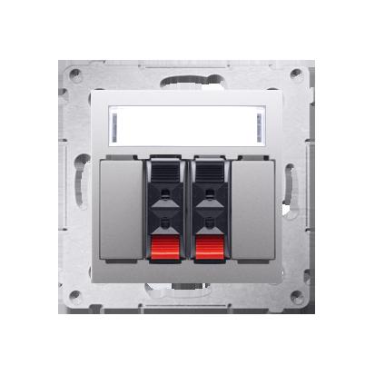 Kontakt Simon 54 Premium Stříbrná reproduktorová zásuvka 2-násobná s popisovým polem (modul) DGL32.01/43