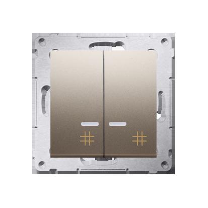 Kontakt Simon 54 Premium Zlatá Vypínač křížový dvojnásobný s podsvícením (modul) 10 AX rychlospojka, DW7/2L.01/44