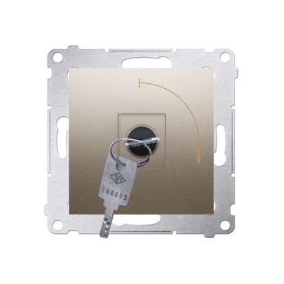 """Kontakt Simon 54 Premium Zlatá Vypínač na dočasný klíč 2 polohový """"0-I"""" spínač N/O vyt. klíče pouze v pozici 0, DP1K.01/44"""