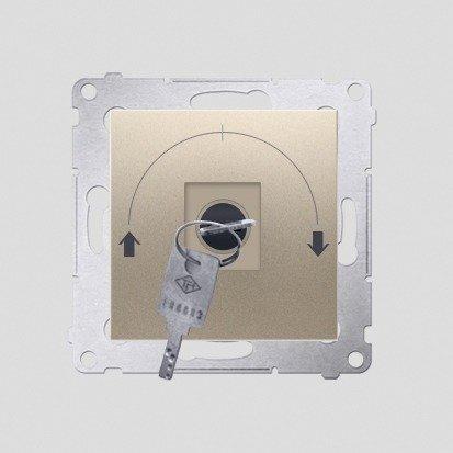 """Kontakt Simon 54 Premium Zlatá Vypínač žaluzii na klíč dočasný 3 pol. """"I-0-II, 2 spínače N/O vyt. klíče v poloze 0, DPZK.01/44"""