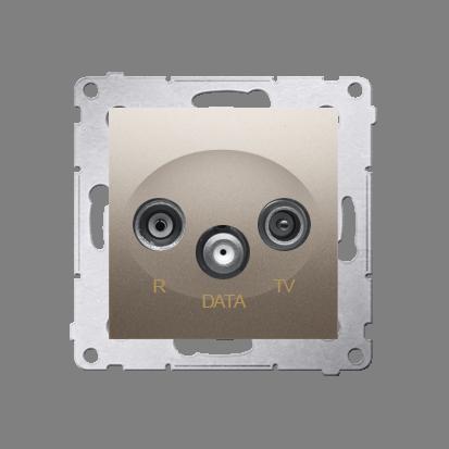 Kontakt Simon 54 Premium Zlatá Zásuvka TV-DATA. Dva výstupy 'F' 5-1000 MHz, DAD1.01/44