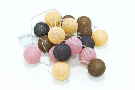 LED koule cotton balls řetěz girlanda světýlka 20 ks odstíny hnědá, lososová, růžová, černá Milagro EKD2877 baterie