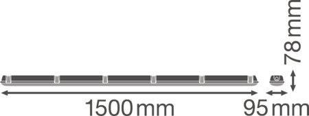 Lineární LED svítidlo stmívatelné 1500 30W 4000K IP65 DAMPPROOF DALI LEDVANCE