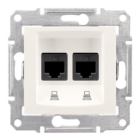 Počítačová dvojitá zásuvka kategorie 6 krémová Sedna SDN4800123 Schneider Electric