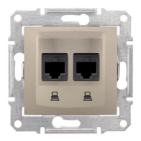 Počítačová dvojitá zásuvka kategorie 6 stíněná saténová Sedna SDN5000168 Schneider Electric