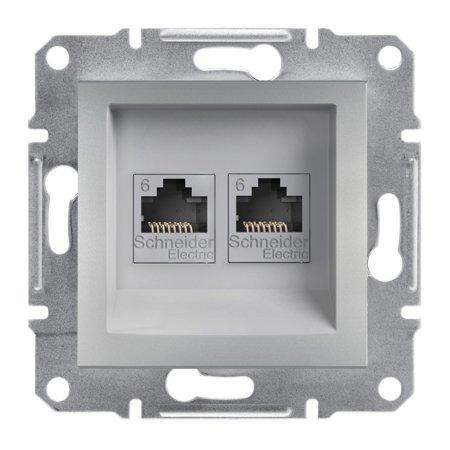 Počítačová zásuvka 2x kat.6 UTP bez rámečku, hliník Schneider Electric Asfora EPH4800161