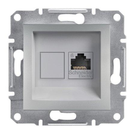 Počítačová zásuvka kat.6 UTP bez rámečku, hliník Schneider Electric Asfora EPH4700161