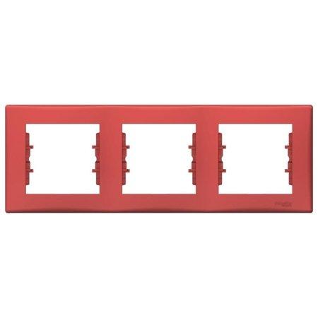 Rámeček 3-násobný vodorovný červená Sedna SDN5800541 Schneider Electric