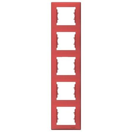 Rámeček 5-násobný svislý červená Sedna SDN5801541 Schneider Electric