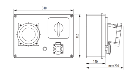 Rozváděč R-BOX 300 1x63A/5P, 1x250V vypínač 0/1 B.18.306W Pawbol