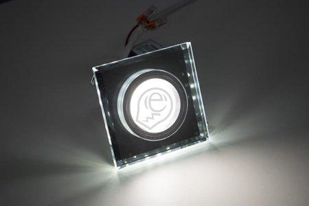 Stan LED C Chrome 6500K, halogenové sklo s páskem, hranatá, studená barva