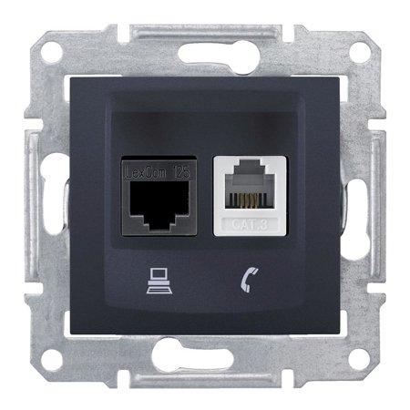 Telefonní a počítačová zásuvka Kategori 6, grafitová Sedna SDN5200170 Schneider Electric