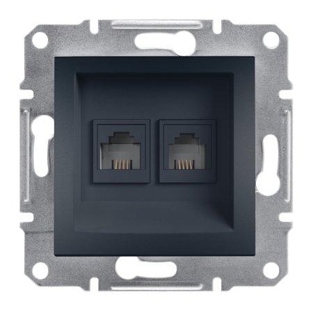 Telefonní dvojitá zásuvka bez rámečku, antracit Schneider Electric Asfora EPH4200171