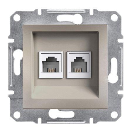 Telefonní dvojitá zásuvka bez rámečku, hnědá Schneider Electric Asfora EPH4200169