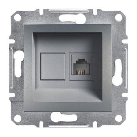 Telefonní zásuvka bez rámečku, ocel Schneider Electric Asfora EPH4100162