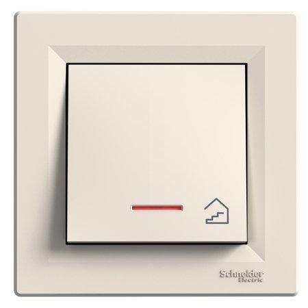 Tlačítko schody s podsvícením šroubové svorky s rámečkem, krémová Schneider Electric Asfora EPH1900323