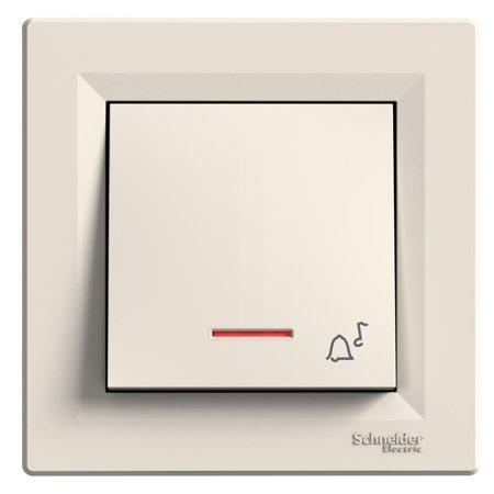 Tlačítko zvonek s podsvícením šroubové svorky s rámečkem, krémová Schneider Electric Asfora EPH1700323