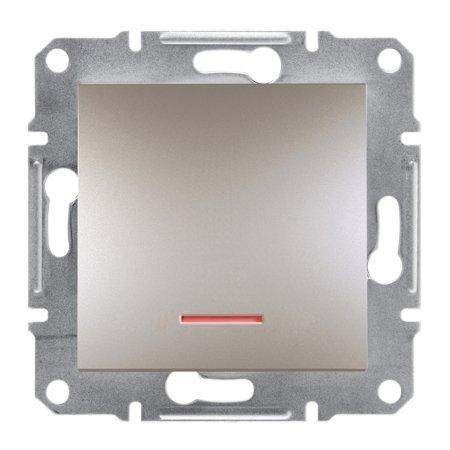 Vypínač 1-pólový s podsvícením bez rámečku, hnědá Schneider Electric Asfora EPH1400169
