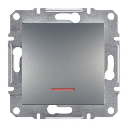 Vypínač 1-pólový s podsvícením bez rámečku, ocel Schneider Electric Asfora EPH1400162